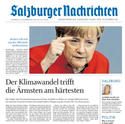 Salzburger Nachrichten 160908 Klimaschock Titel